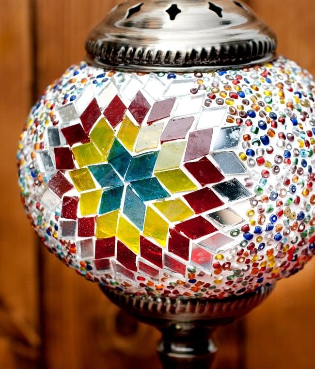 モザイクガラスのアラビアンランプ - 床置 4 - このモザイク状のガラスにより、ふんわりとした光になります。