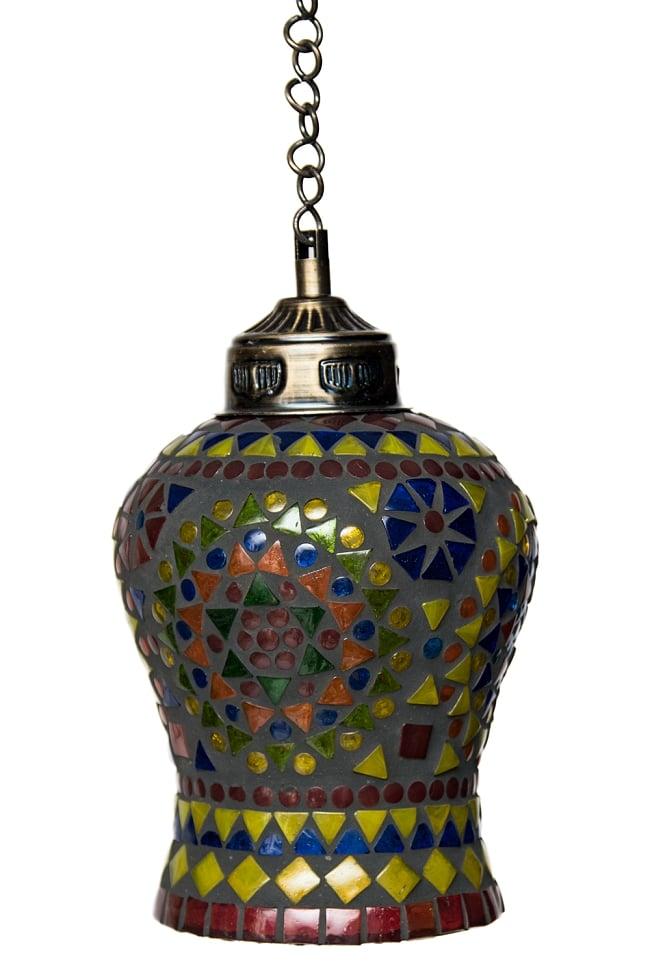 吊り下げモザイクランプ 直径13.5cm 4 - 明るいところで見てみました。点灯していなくても可愛いです。