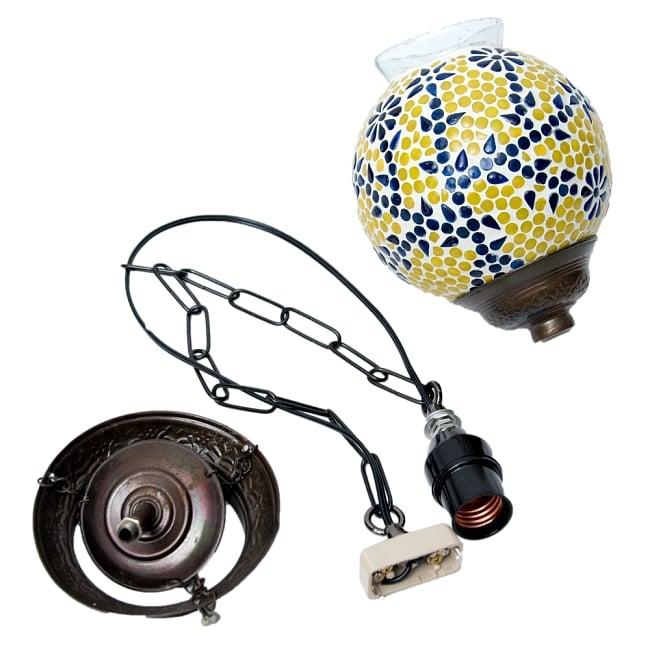 吊り下げモザイクランプ 直径18.5cm 9 - 本体・取り付け金具・ソケット付きコードの3点セットです。ドライバー1本だけあれば組み立てできます。(写真は商品例です。)