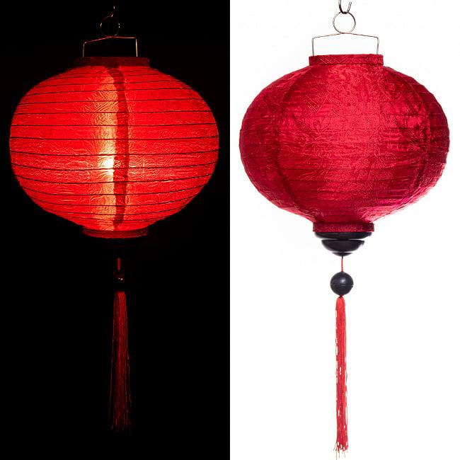 ベトナム伝統のホイアン・ランタン(提灯) - 丸型 大 コイルタイプ 17 - 〔No.6〕赤色