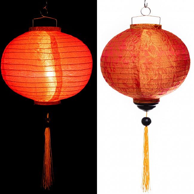 ベトナム伝統のホイアン・ランタン(提灯) - 丸型 大 コイルタイプ 19 - 〔No.8〕オレンジ