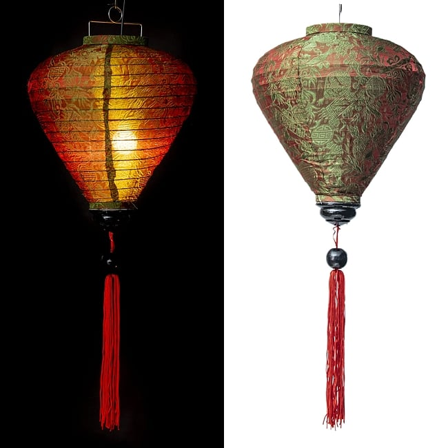 ベトナム伝統のホイアン・ランタン(提灯) -お椀型 大 12 - 選択A:赤・緑