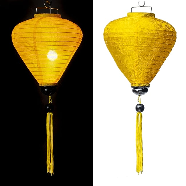 ベトナム伝統のホイアン・ランタン(提灯) -お椀型 大 14 - 選択C:黄色