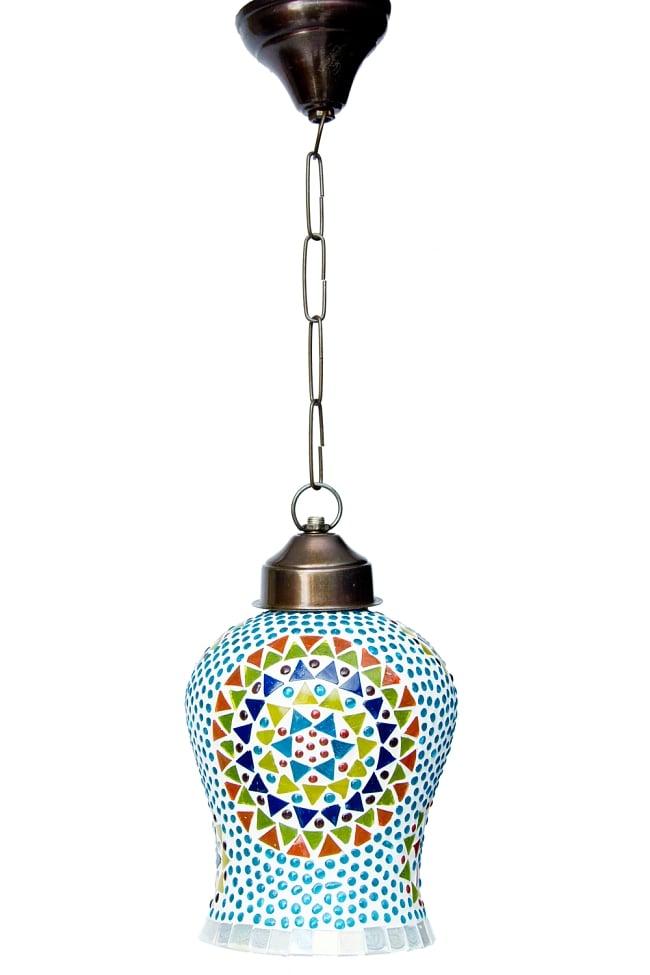 吊り下げモザイクランプ【直径:約13.5cm】 4 - 明るいところで見てみました。点灯していなくても可愛いです。