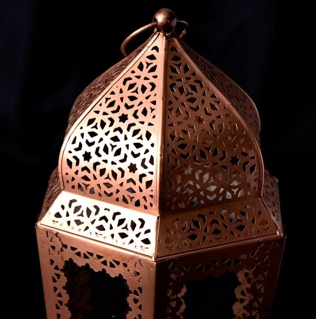 【29cm】モロッコスタイル スタンド型LEDキャンドルランタン【ロウソク風LEDキャンドル付き】 2 - アップにしてみました