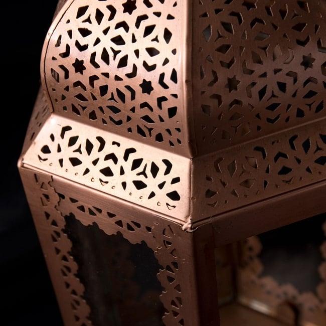 【29cm】モロッコスタイル スタンド型LEDキャンドルランタン【ロウソク風LEDキャンドル付き】 6 - アップにしてみました