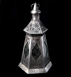 【37cm】モロッコスタイル スタンド型LEDキャンドルランタン【ロウソク風LEDキャンドル付き】