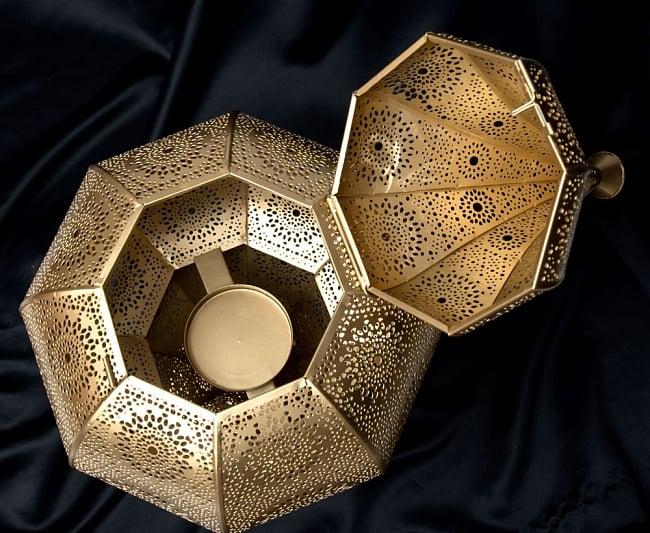 【66cm】モロッコスタイル スタンド型LEDキャンドルランタン【ロウソク風LEDキャンドル付き】 7 - この平たい部分にキャンドルを置きます