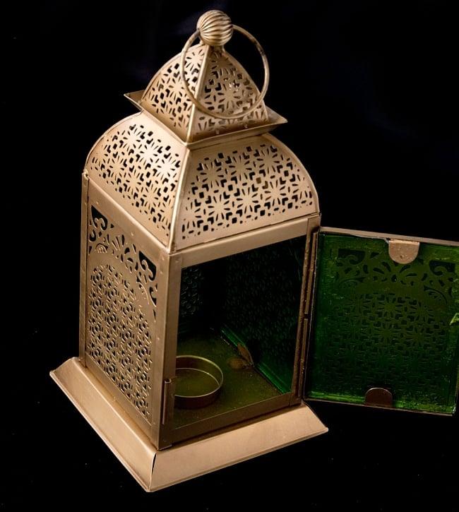 【26.5cm】モロッコスタイル スタンド型LEDキャンドルランタン【ロウソク風LEDキャンドル付き】 5 - アップにしてみました