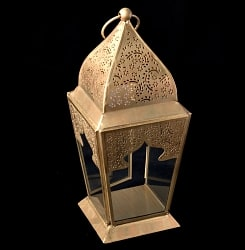 【25.5cm】モロッコスタイル スタンド型LEDキャンドルランタン【ロウソク風LEDキャンドル付き】