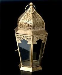 【27cm】モロッコスタイル スタンド型LEDキャンドルランタン【ロウソク風LEDキャンドル付き】