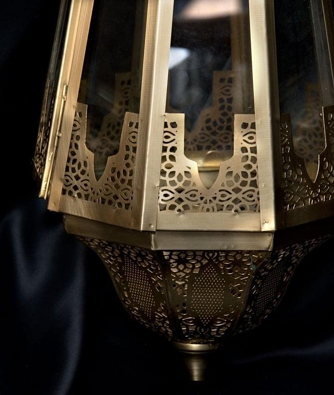 【50cm】モロッコスタイル 吊り下げ型LEDキャンドルランタン【ロウソク風LEDキャンドル付き】 3 - アップにしてみました