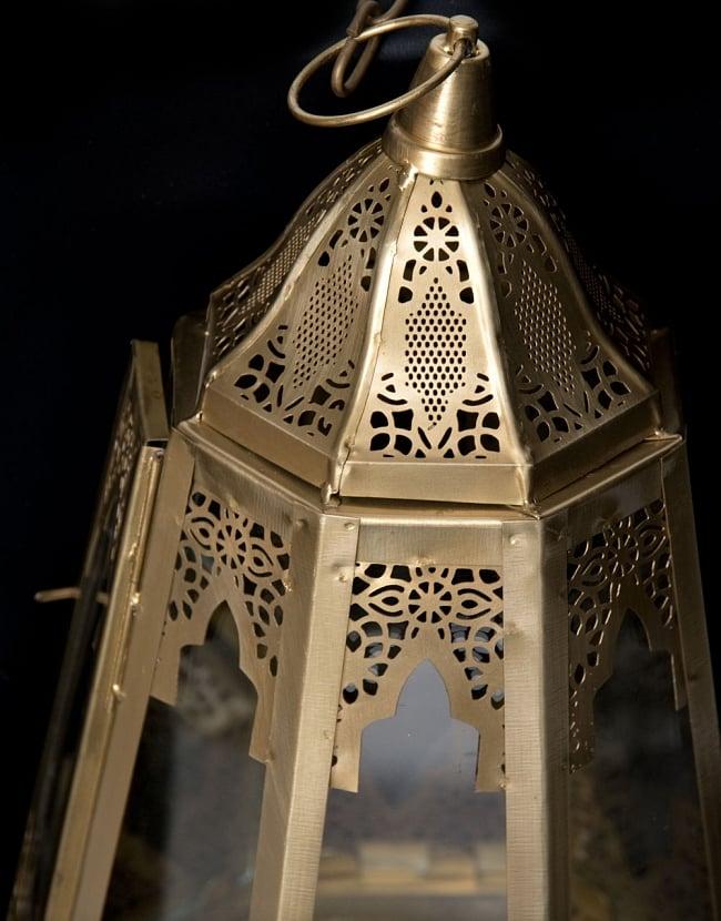 【50cm】モロッコスタイル 吊り下げ型LEDキャンドルランタン【ロウソク風LEDキャンドル付き】 4 - アップにしてみました