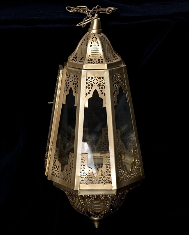 【50cm】モロッコスタイル 吊り下げ型LEDキャンドルランタン【ロウソク風LEDキャンドル付き】の写真