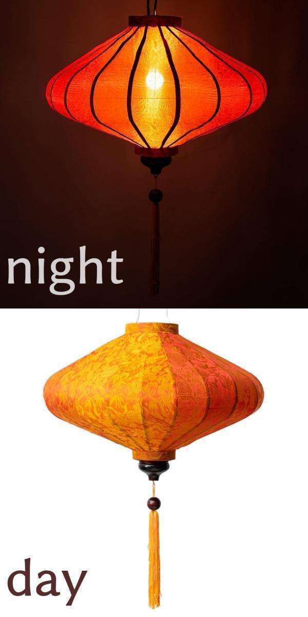 ベトナム伝統のホイアン・ランタン(提灯) - 薄ひし形(大) 19 - 5:橙