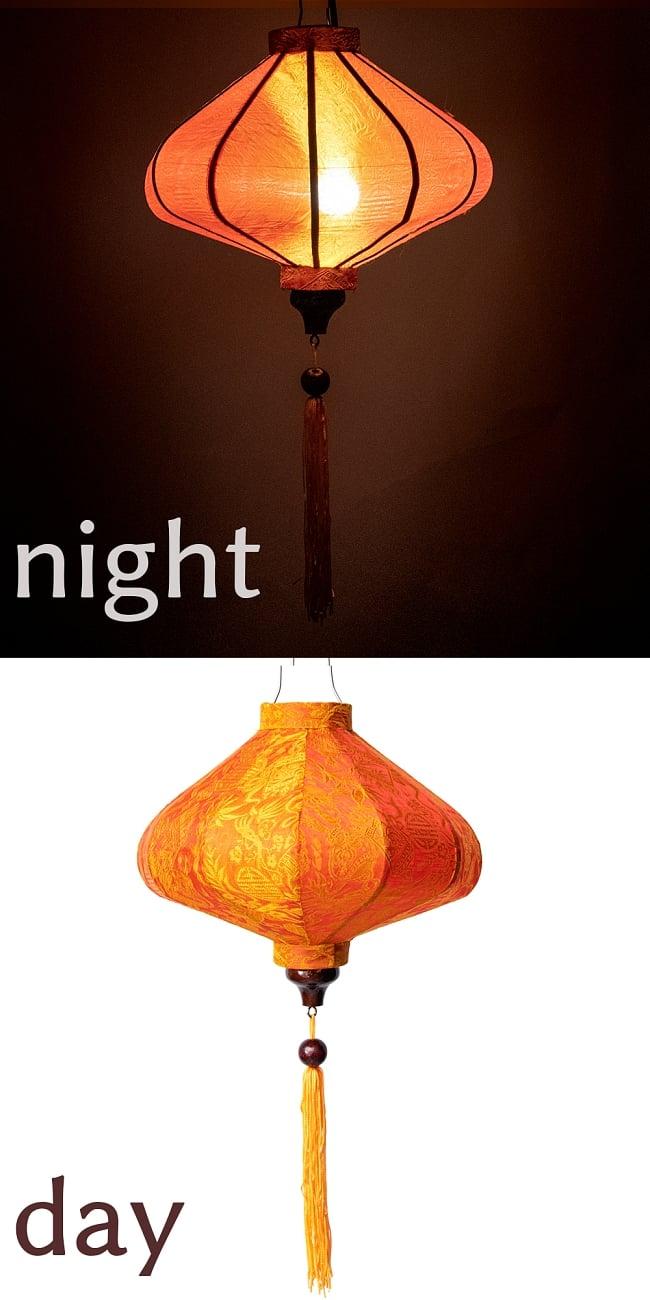 ベトナム伝統のホイアン・ランタン(提灯) - 薄ひし形(小) 19 - 5:橙