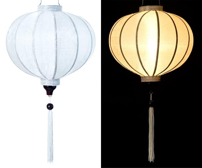 ベトナム伝統のホイアン・ランタン(提灯) - 丸型(中) 14 - 選択4:白