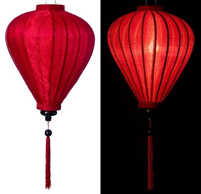 ベトナム伝統のホイアン・ランタン(提灯) - ほおずき型(大) 12 - 選択2:赤