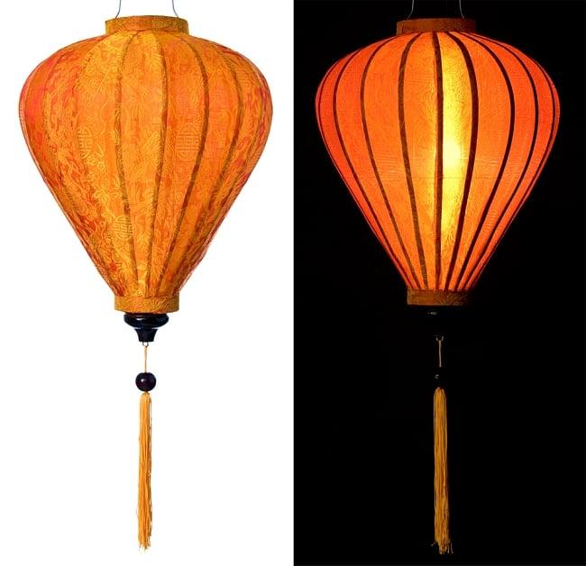 ベトナム伝統のホイアン・ランタン(提灯) - ほおずき型(大) 15 - 選択5:橙