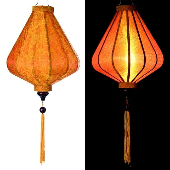 ベトナム伝統のホイアン・ランタン(提灯) - ダイヤ型(中) 15 - 選択5:橙