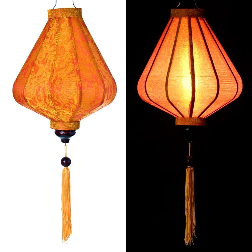 ベトナム伝統のホイアン・ランタン(提灯) - ダイヤ型(小) 15 - 選択5:橙