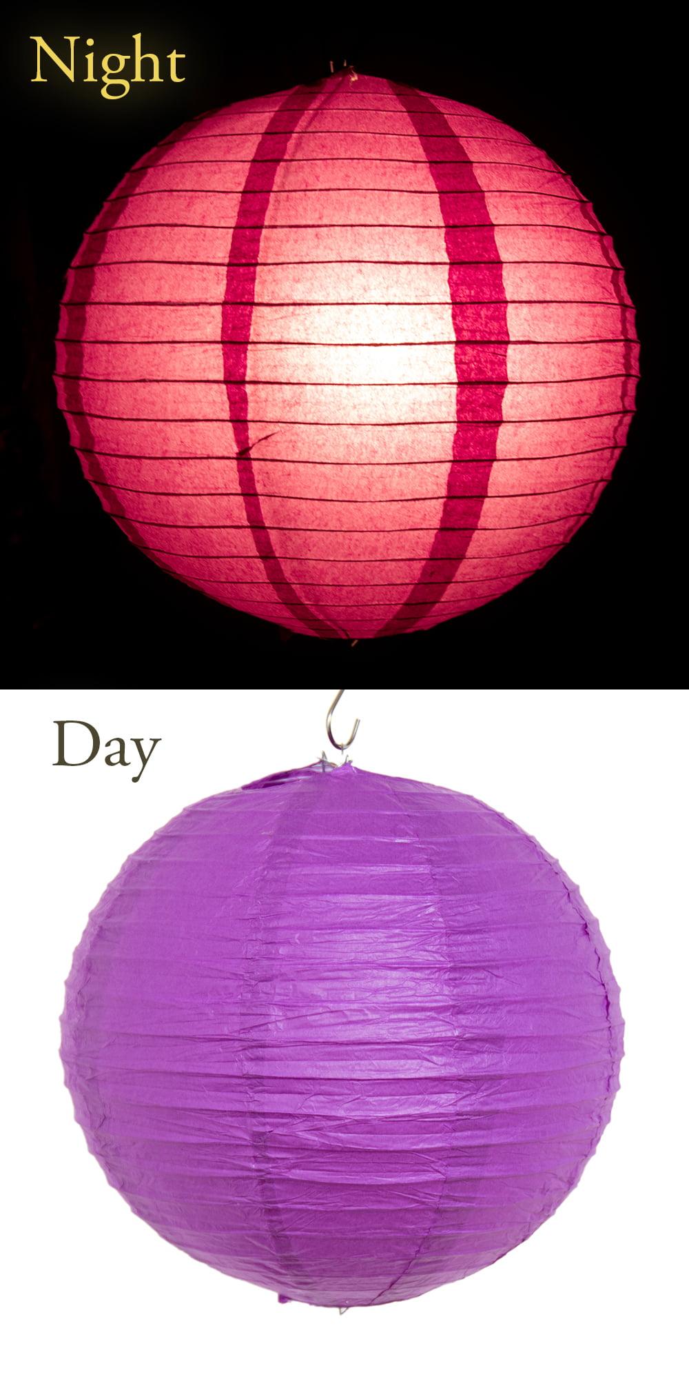 【8色展開】ベトナムのカラフル提灯・ランタン - 丸型 直径30cm 10 - 色とりどり揃えるともりあがりますね。