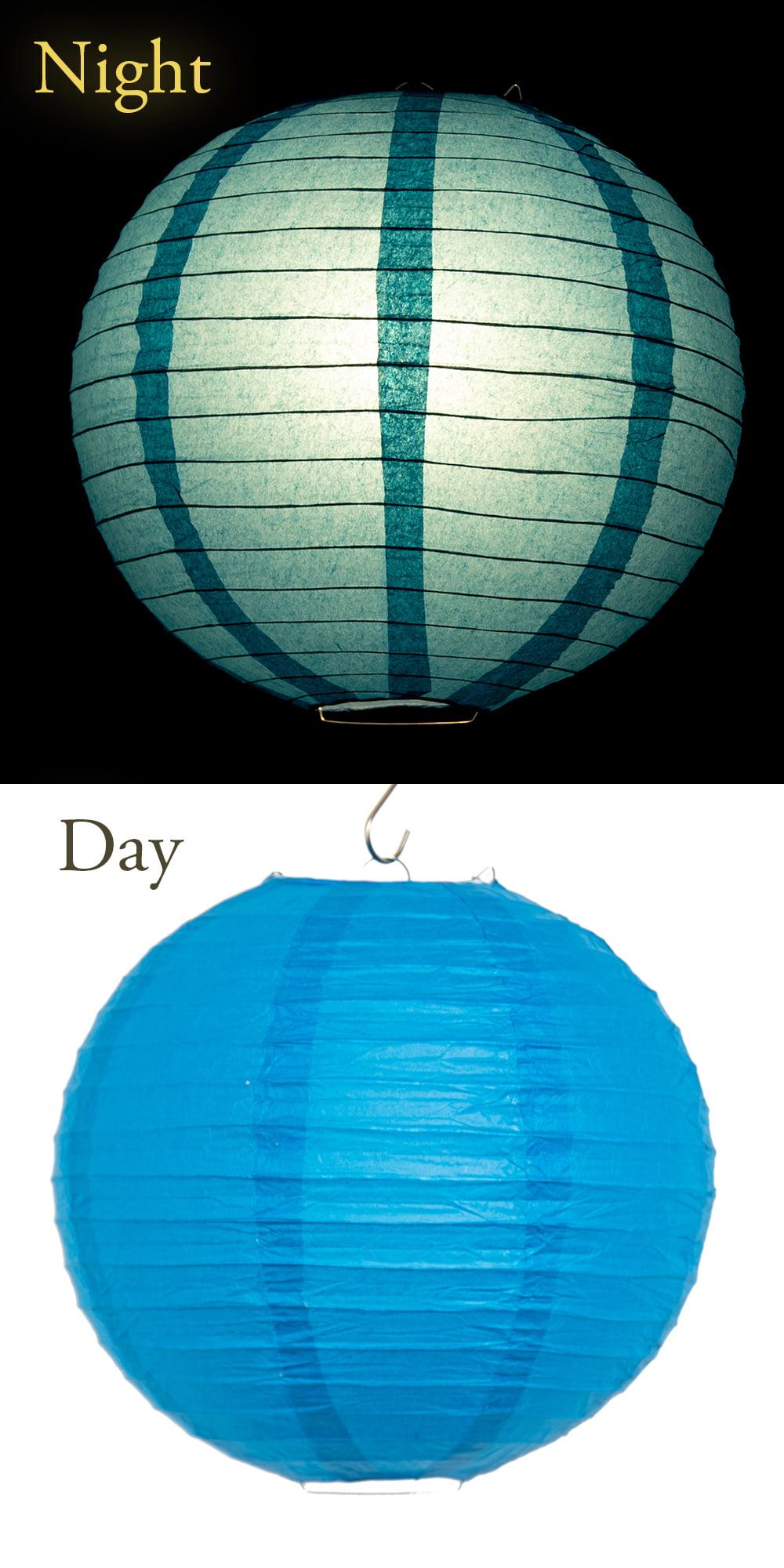 【8色展開】ベトナムのカラフル提灯・ランタン - 丸型 直径30cm 11 - 近くで見てみました。若干の光沢感のある生地が用いられています。