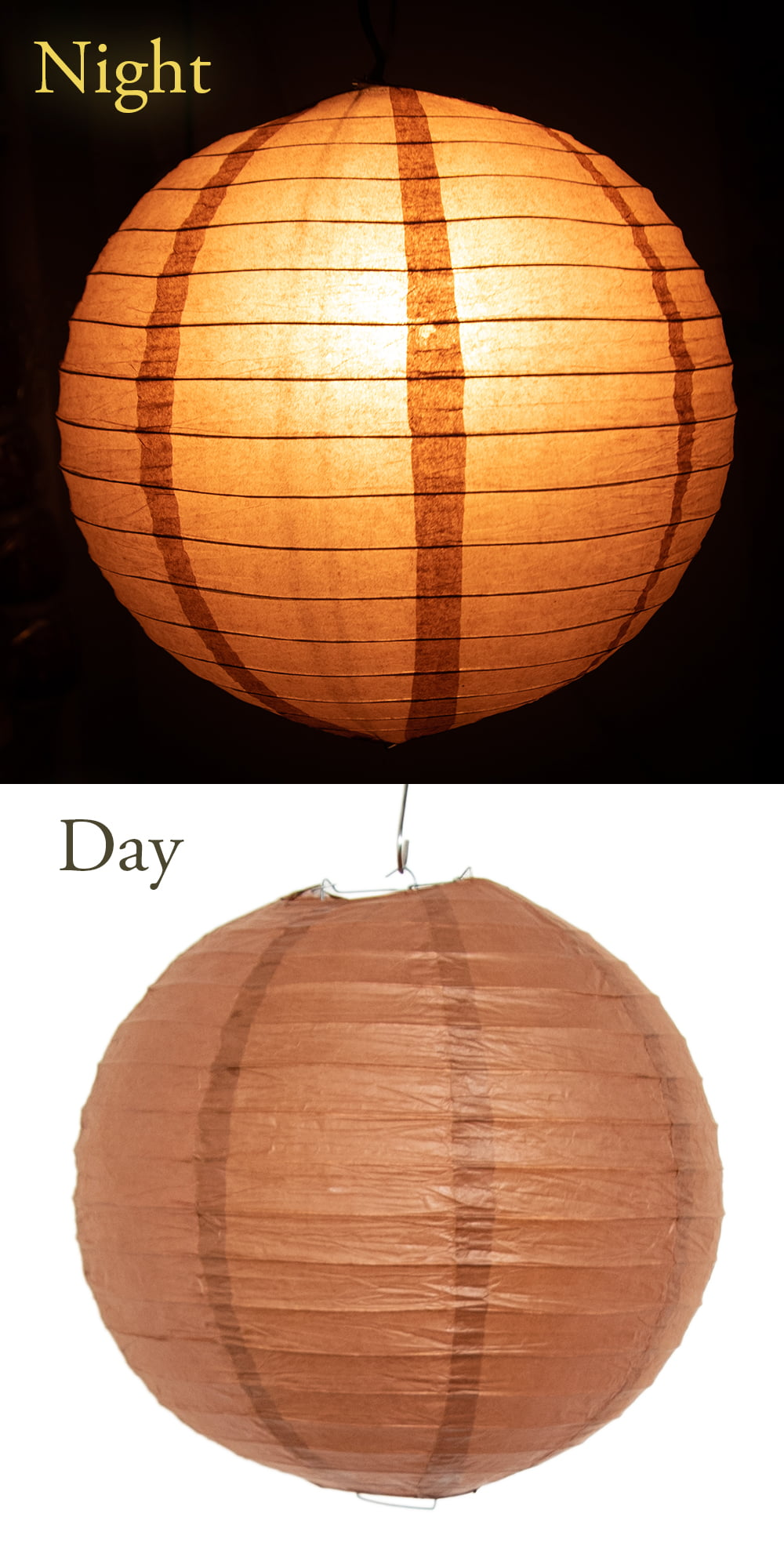 【8色展開】ベトナムのカラフル提灯・ランタン - 丸型 直径30cm 13 - お届け時はこのように折りたたんであります。支柱とのセットになります。