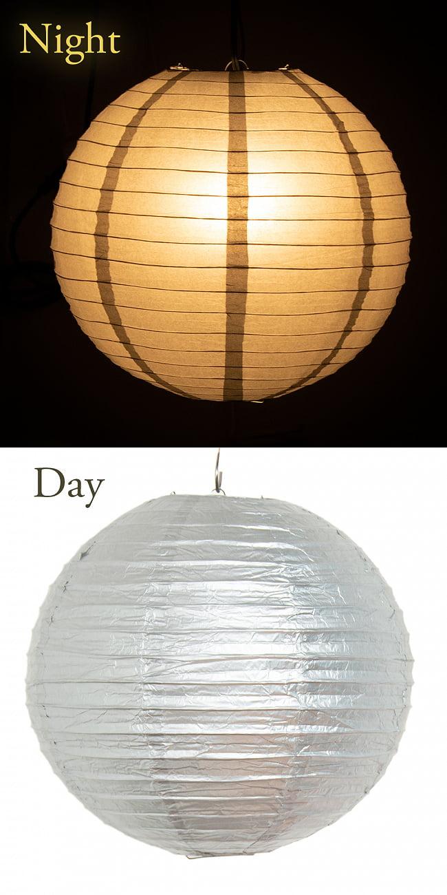 【16色展開】ベトナムのカラフル提灯・ランタン - 丸型 直径30cm 16 - 15:シルバー