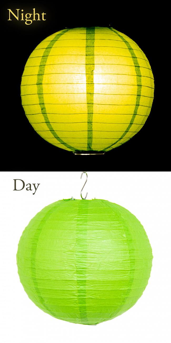 【16色展開】ベトナムのカラフル提灯・ランタン - 丸型 直径30cm 17 - 16:グリーン