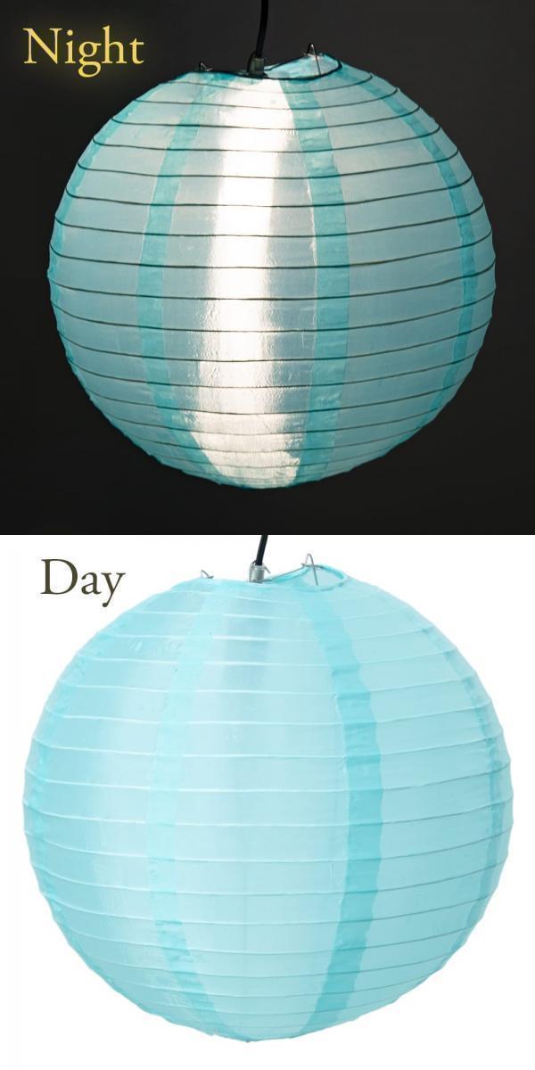 【8色展開】ベトナムのカラフル提灯・ランタン - 丸型 直径30cm 2 - 1:アクアブルー