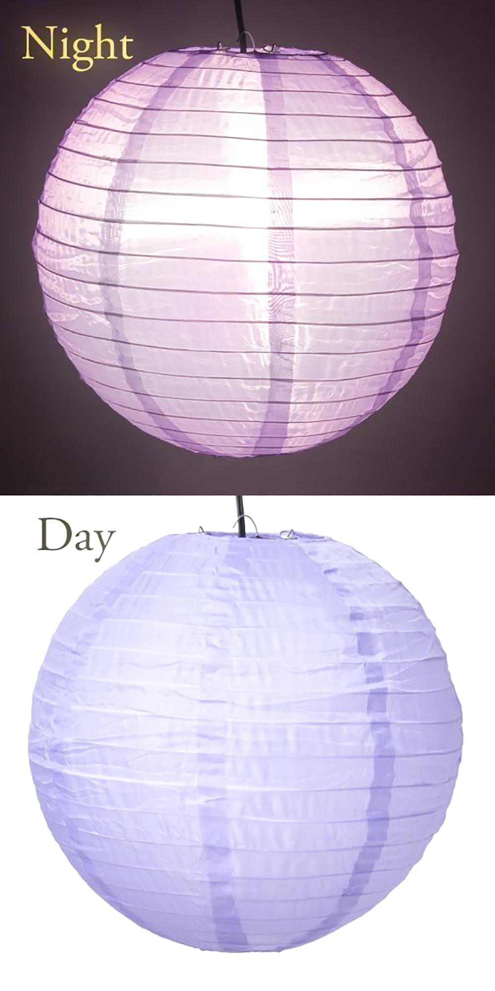 【8色展開】ベトナムのカラフル提灯・ランタン - 丸型 直径30cm 4 - 3:薄紫