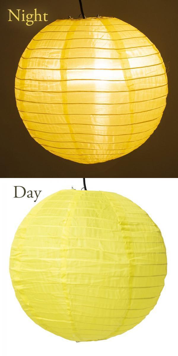 【8色展開】ベトナムのカラフル提灯・ランタン - 丸型 直径30cm 5 - 4:黄色