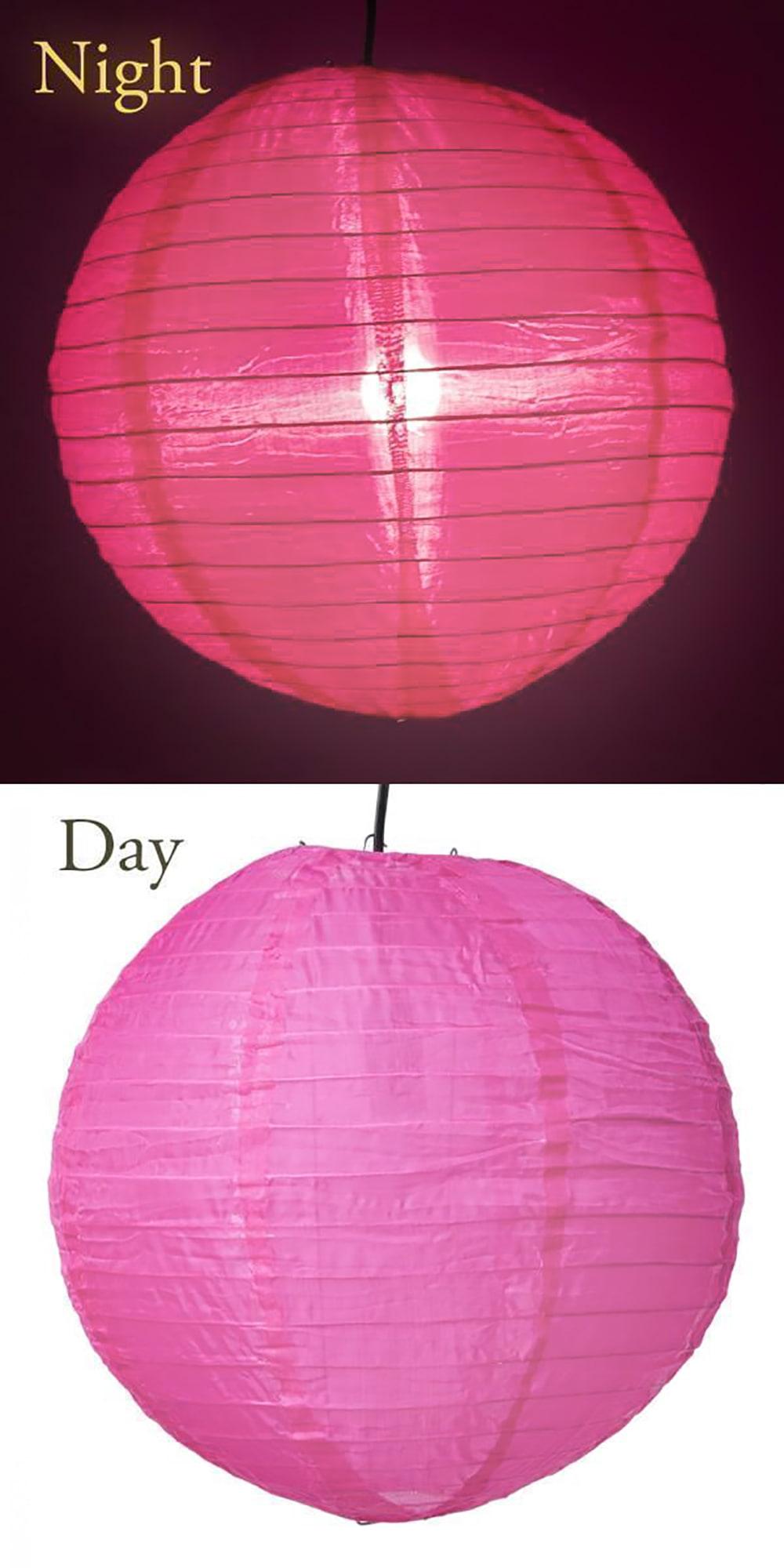 【8色展開】ベトナムのカラフル提灯・ランタン - 丸型 直径30cm 6 - 5:ピンク