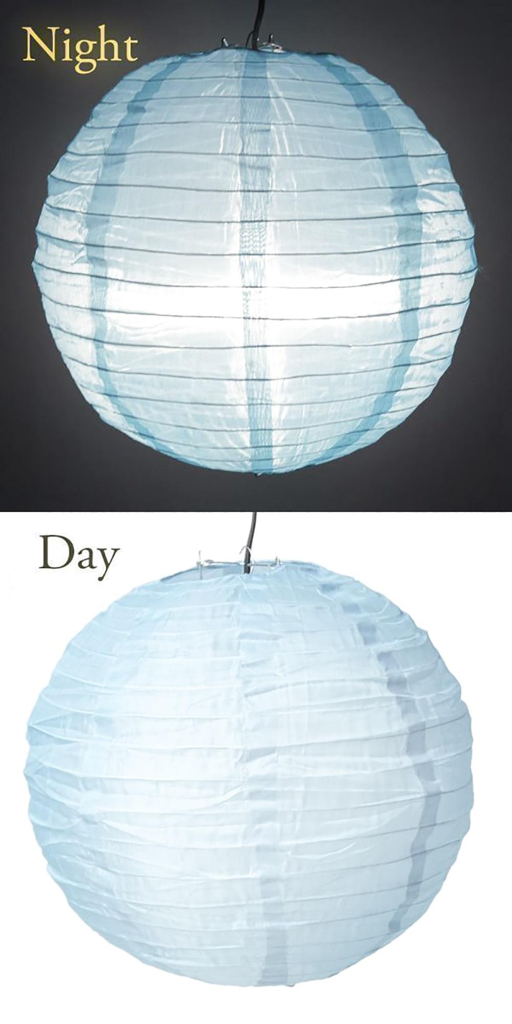 【8色展開】ベトナムのカラフル提灯・ランタン - 丸型 直径30cm 8 - 7:水色