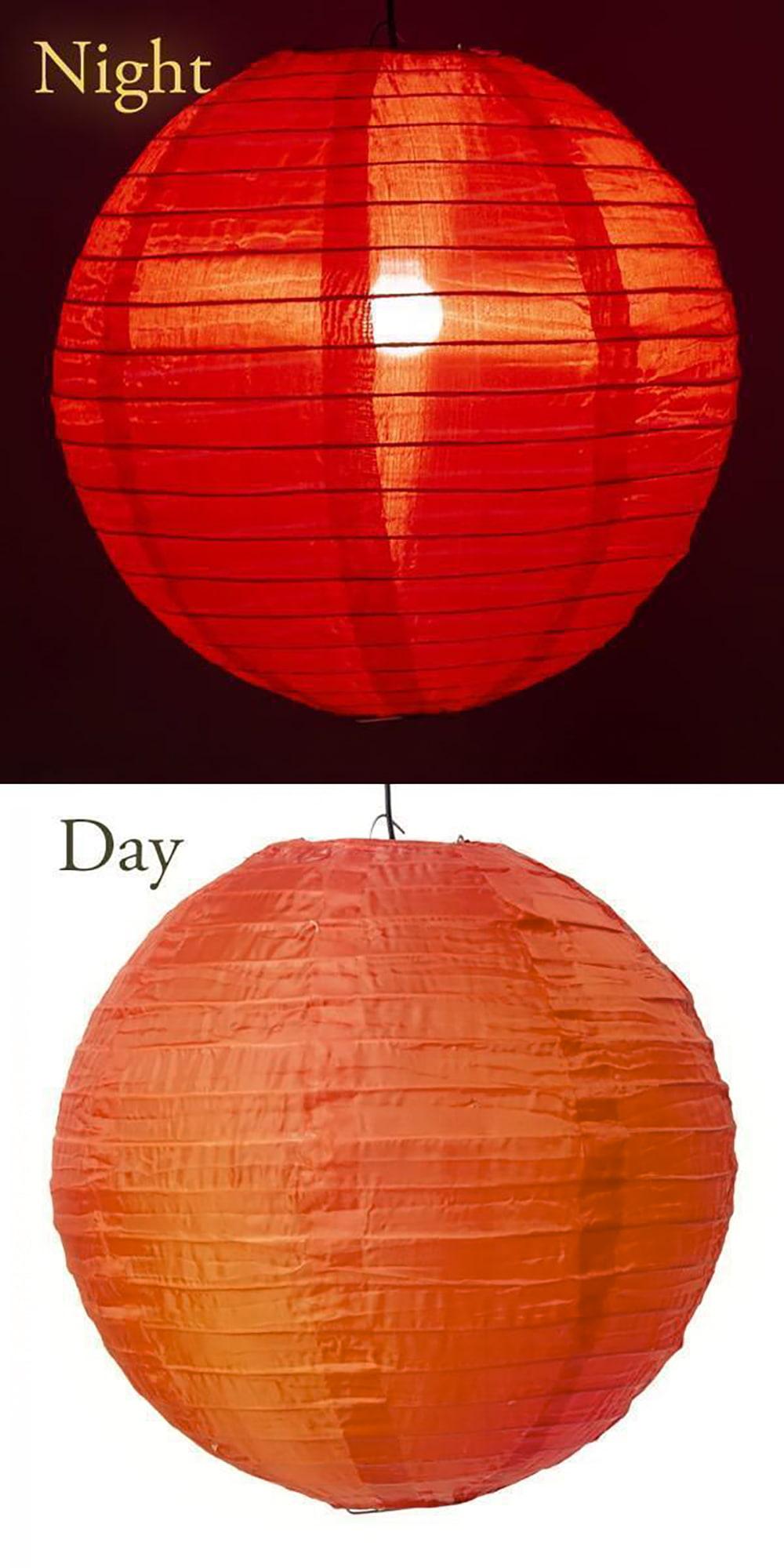 【8色展開】ベトナムのカラフル提灯・ランタン - 丸型 直径30cm 9 - 8:赤