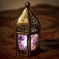 モロッコスタイルの透かし彫りキャンドルランタン〔ロウソク風LEDキャンドル付き〕 - 〔パープル〕約12×6cm