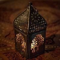 モロッコスタイルの透かし彫りキャンドルランタン【ロウソク風LEDキャンドル付き】 - 【イエロー】約12×5.5cm