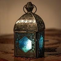 モロッコスタイルの透かし彫りキャンドルランタン【ロウソク風LEDキャンドル付き】 - 【ブルー】約14×6.5cm