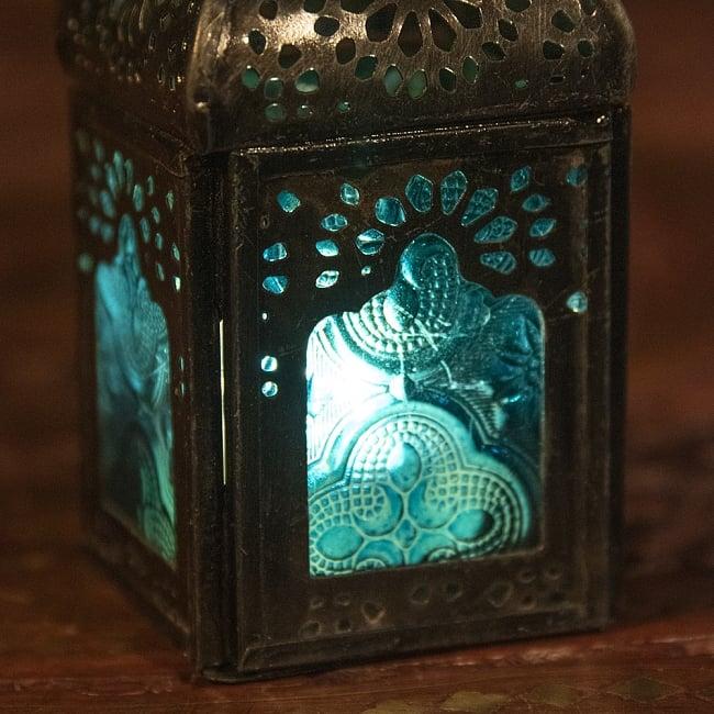 モロッコスタイルの透かし彫りLEDキャンドルランタン〔ロウソク風LEDキャンドル付き〕 - 〔ブルー〕約12.5×5.5cm 2 - 全体写真です