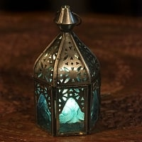 モロッコスタイルの透かし彫りLEDキャンドルランタン〔ロウソク風LEDキャンドル付き〕 - 〔ブルー〕約14×6.5cm
