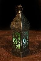 モロッコスタイルの透かし彫りLEDキャンドルランタン〔ロウソク風LEDキャンドル付き〕 - 〔ブルー&グリーン〕約22.5×6cm
