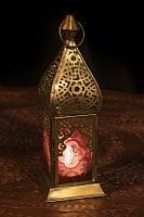 モロッコスタイルの透かし彫りLEDキャンドルランタン〔ロウソク風LEDキャンドル付き〕 - 〔レッド〕約22.5×8cm