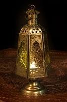 モロッコスタイルの透かし彫りLEDキャンドルランタン〔ロウソク風LEDキャンドル付き〕 - 〔オレンジ〕約24.5×10cm