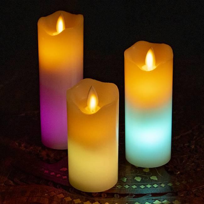 本物のロウで作られた ゆらめく灯火 ロウソク風LEDキャンドルライト レインボー〔5cm×12.5cm〕 7 -