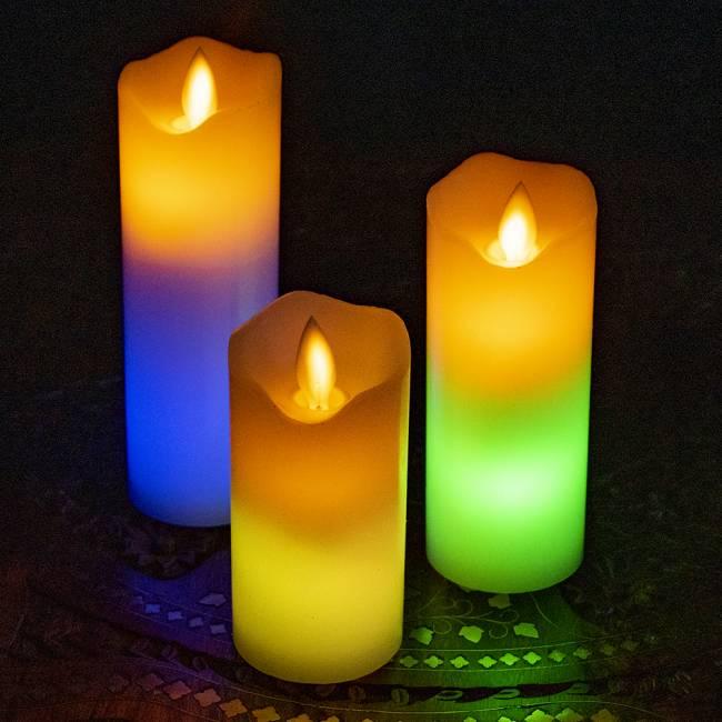 本物のロウで作られた ゆらめく灯火 ロウソク風LEDキャンドルライト レインボー〔5cm×12.5cm〕 8 -