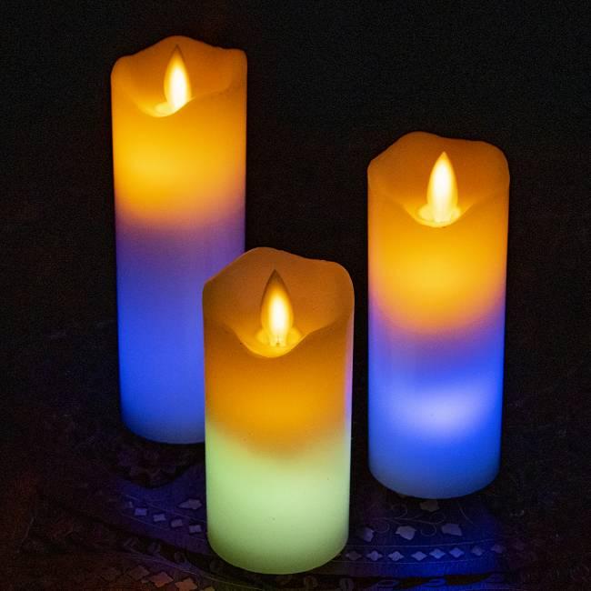 本物のロウで作られた ゆらめく灯火 ロウソク風LEDキャンドルライト レインボー〔5cm×12.5cm〕 9 -