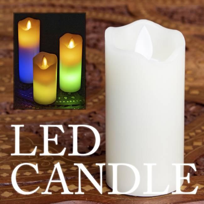 本物のロウで作られた ゆらめく灯火 ロウソク風LEDキャンドルライト レインボー〔5cm×12.5cm〕の写真