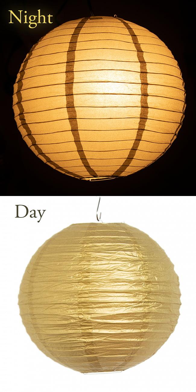 【15色展開】ベトナムのカラフル提灯・ランタン - 丸型 直径40cm 12 - 11:ゴールド