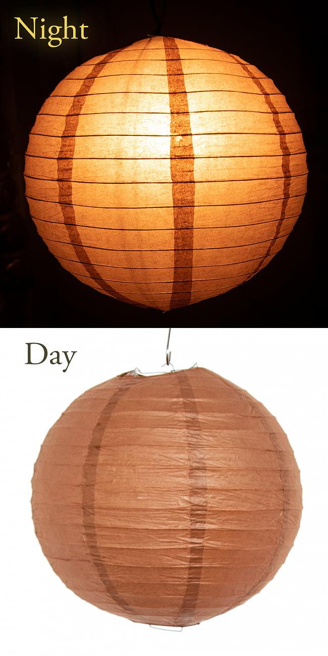 【15色展開】ベトナムのカラフル提灯・ランタン - 丸型 直径40cm 14 - 13:ブラウン